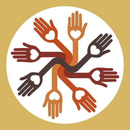 caring hands: Caring loving circle of hands design.