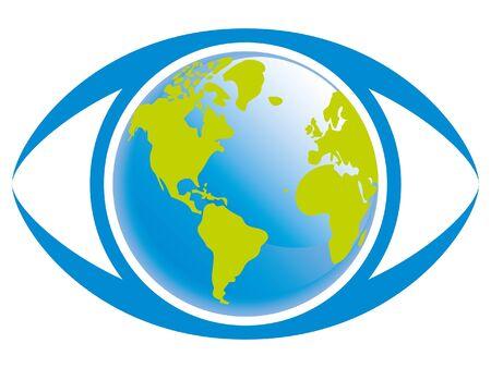 World eye illustration.  Vectores