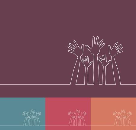 voter: Illustration ligne simple de vecteur mains de conception.