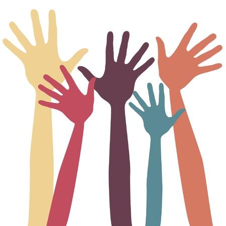raising: Happy hands vector design.