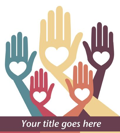 helpful: Helpful hands vector design with copy space. Illustration