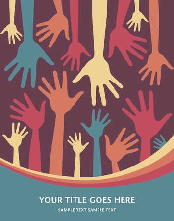 jubilation: Hand pattern vector design with copy space.