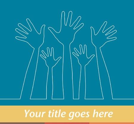 Ilustración simple línea de las manos, con copia espacio. Foto de archivo - 10502864