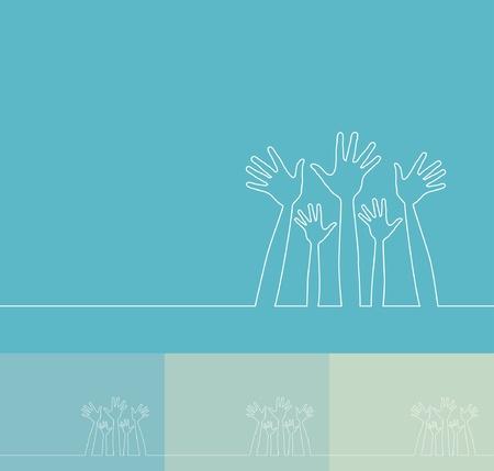 Simple line illustration of hands.  Illustration
