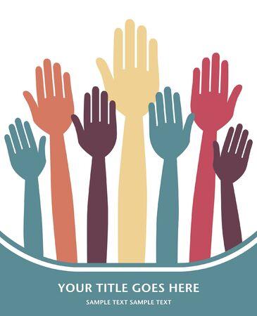 volunteering: Hands volunteering or voting design.  Illustration