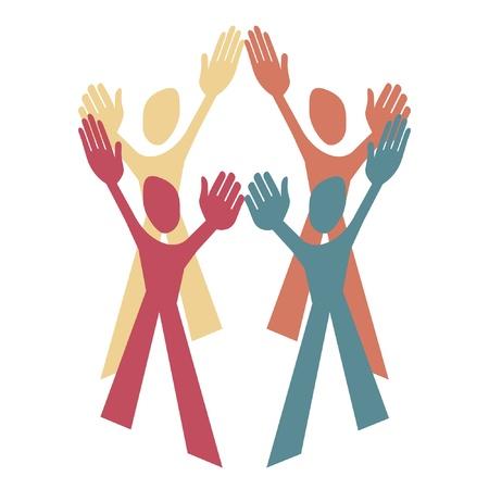 people working together: Human teamwork design.  Illustration