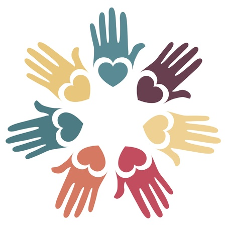 Colorful hands and hearts vector design.