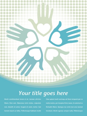 loving hands: Circle of loving hands with copy space vector.  Illustration
