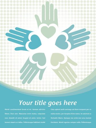 helping hand: Loving hands design with copy space vector.  Illustration