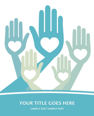 Loving hands design with copy space vector.  Illustration