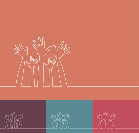 Simple line illustration of hands vector design.