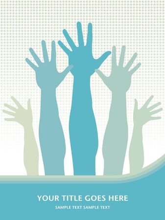 hands in the air: Hands in the air vector design with text space.  Illustration