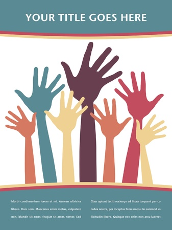 volunteering: Happy hands design with copy space.