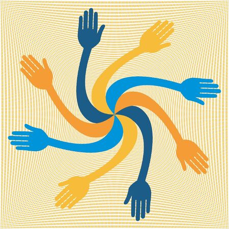 Colorful hand vortex design.  Vector