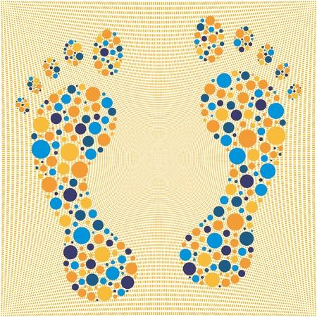 Colorful circular dot footprints  Vector