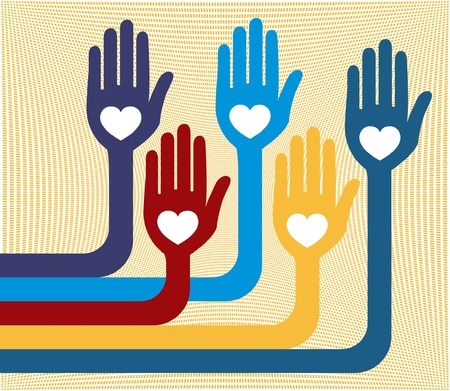 A united group of loving hands design.  Vector