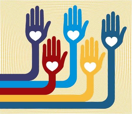 loving hands: A united group of loving hands design.