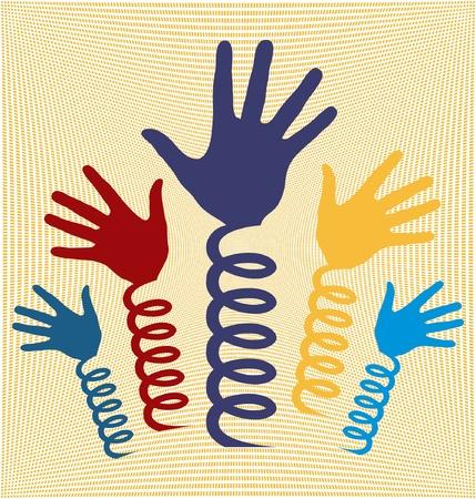 bobina: Las manos en los muelles en espiral
