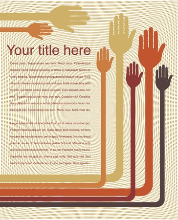 volunteering: Hand design with text space