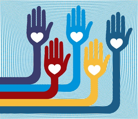 A united group of loving hands vector design.  Vector