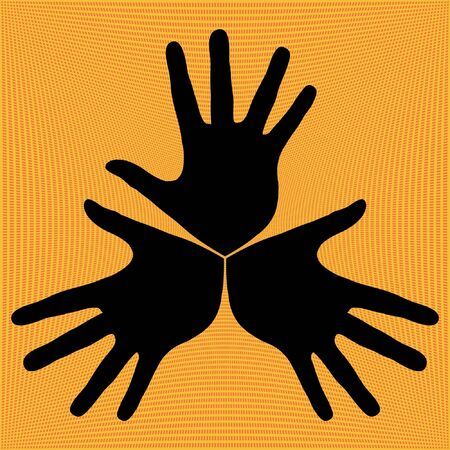 trio: Hand trio vector illustration.