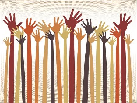 jubilation: Happy celebration hands vector design.  Illustration