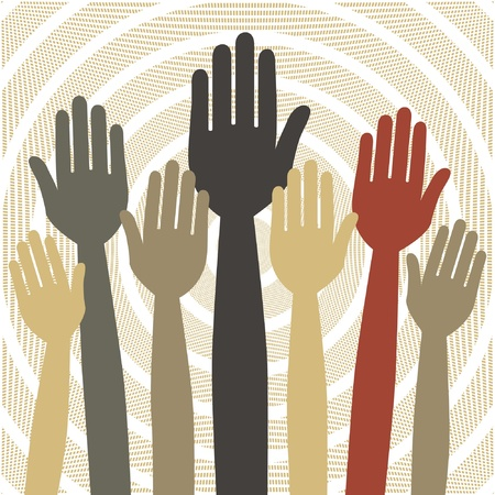 volunteering: Hands volunteering or voting vector design. Illustration
