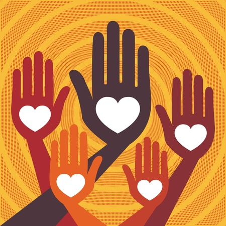 Warm and friendly hands vector design.