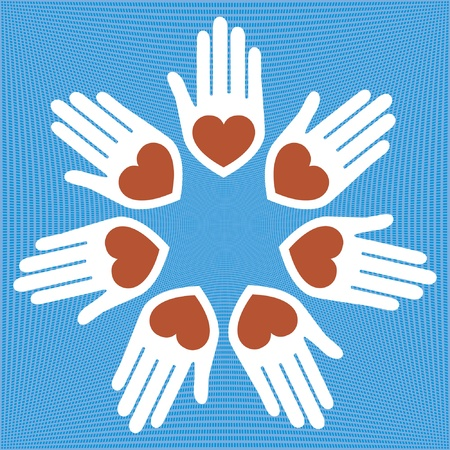 United hands and hearts design. Vector