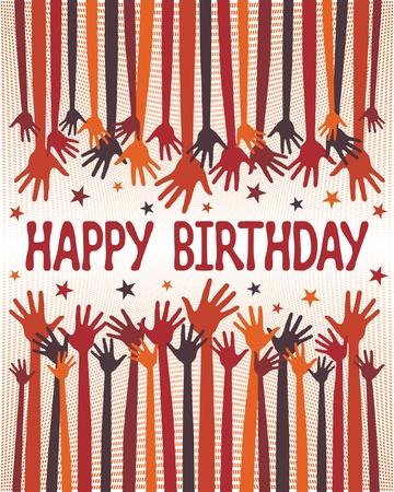 jubilation: Happy birthday hands design.