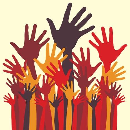 Large group of happy hands design.  Illustration