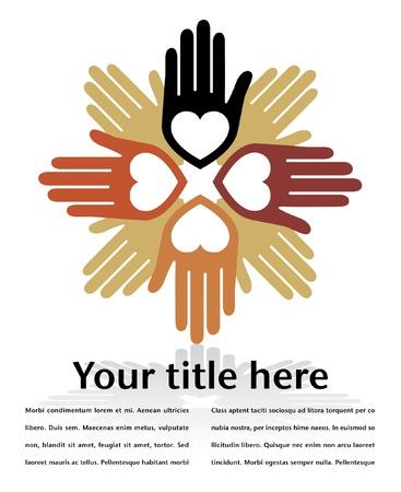 loving hands: United loving hands design with copy space.  Illustration