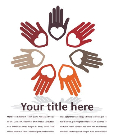 United hands and hearts design with copy space. Stock Vector - 10701264