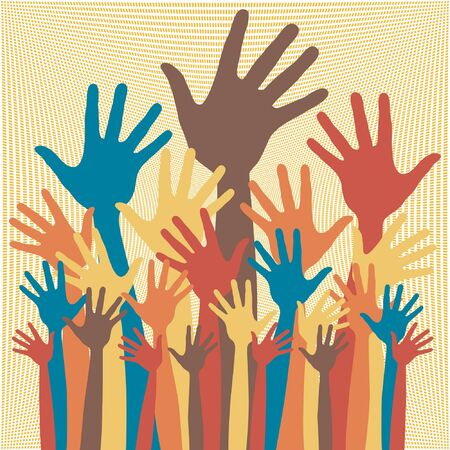 Large group of happy hands design.  Vector