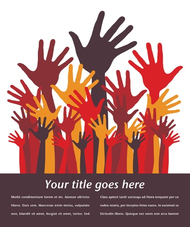 Large group of happy hands design with copy space. Stock Vector - 10701296