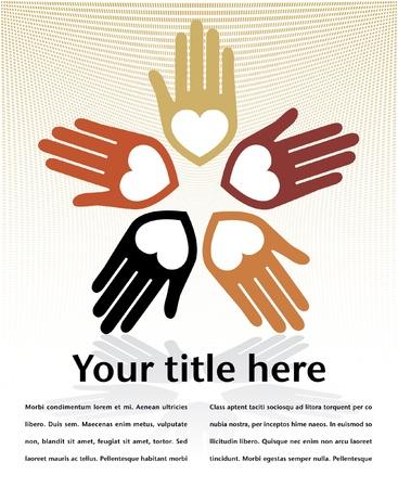 cuore in mano: Amare cerchio del design mani con copia spazio. Vettoriali