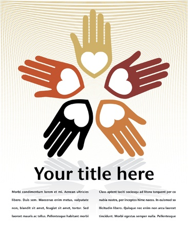 Loving circle of hands design with copy space.  Illustration