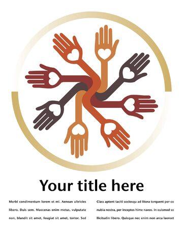 charity work: Loving circular hands design.