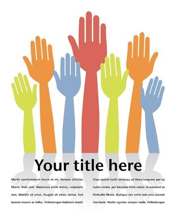 volunteering: Colorful hands volunteering or voting with copy space.