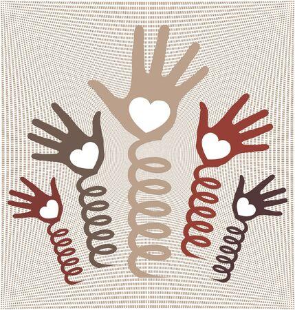 coils: Hands spring into action design. Illustration