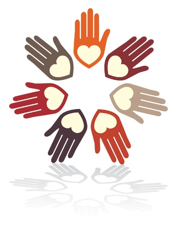 United hands and hearts design.  Stock Vector - 10737478