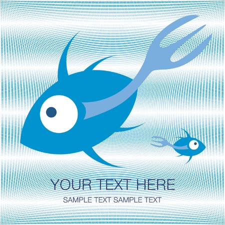 Fork tailed fish design with text space vector.  Vector