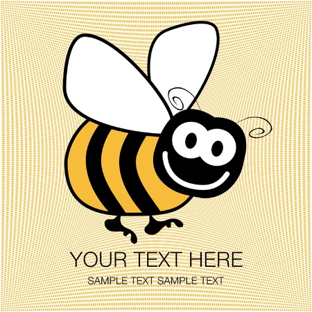 pollinating: Bumble bee design with copy space vector.  Illustration