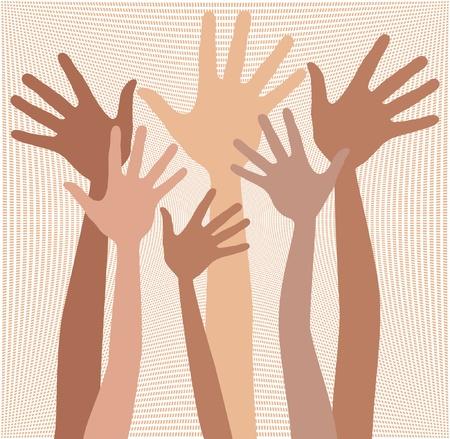 skin tones: Happy hands in skin tones vector design.