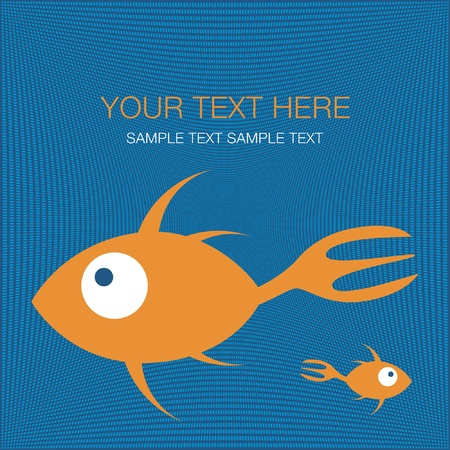 Fork tailed fish design with text space vector. Stock Vector - 10723514