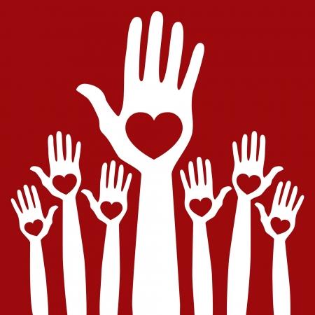 manos levantadas: Cuenten conmigo en el diseño de vectores manos.