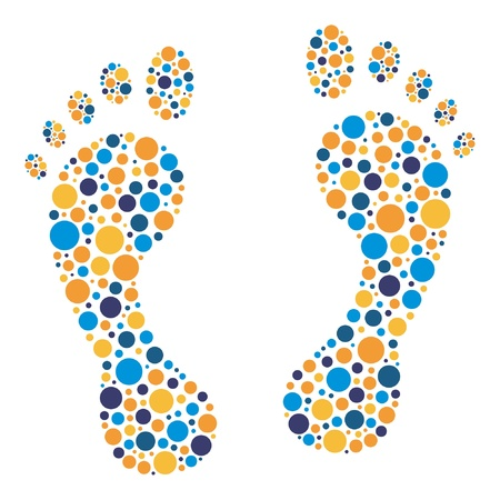 toe: Colorful circular dot footprints vector illustration.