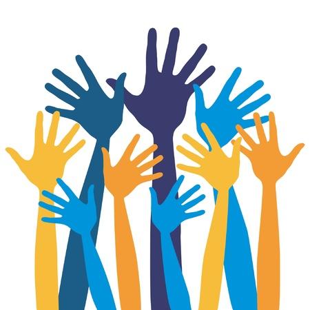 foule mains: Mains amusants vecteur de conception.  Illustration