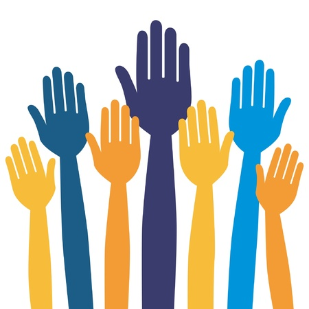 raised hand: Hands volunteering or voting vector design.