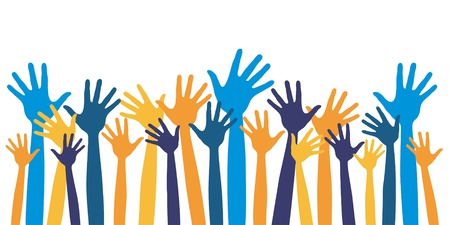 raised hand: Huge group of happy people vector design.